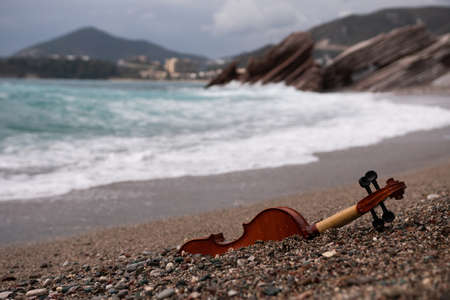 An old brown violin instrument lying on the beach in the sand Zdjęcie Seryjne