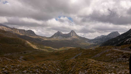 Landscape of mountain peaks in Durmitor National Park, Montenegro. Pass Saddle 写真素材