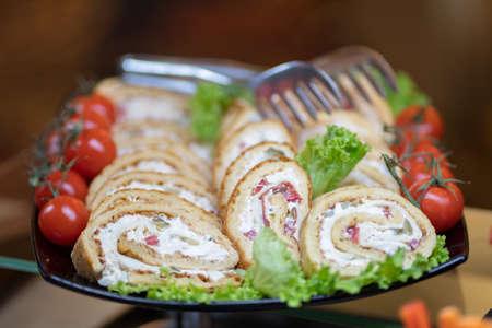 Chicken meat loaf with vegetables. Healthy meatloaf. 写真素材