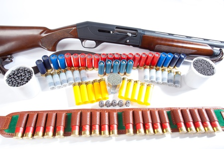 cartridge belt: gun and hunting cartridges on a white background Stock Photo
