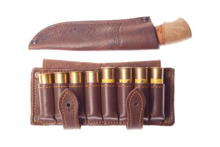 cartridge belt: Knife with ammunition for hunting on a white background