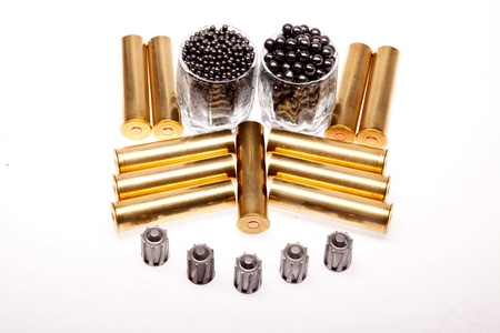 shot and hunting cartridges on a white background photo