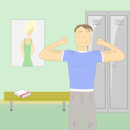kleedkamer: Sportman op groene kleedkamer