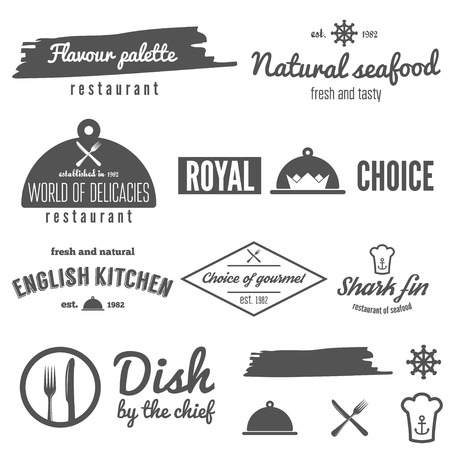 brand: Collection of logo, badge, emblem and logotype elements for restaurant, cafe and bar
