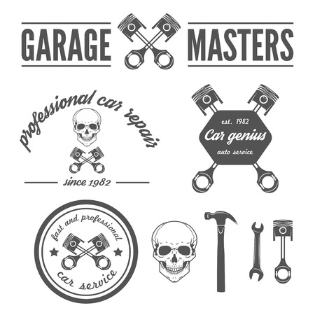 Collection of logo, badge, emblem and logotype element for mechanic, garage, car repair and auto service Vector