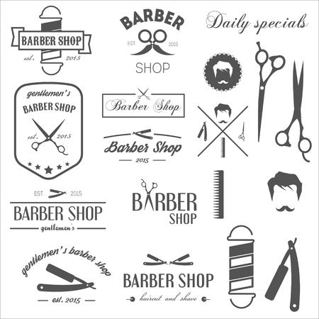 peluquero: Conjunto de etiquetas de �poca retro y elementos para peluquer�a