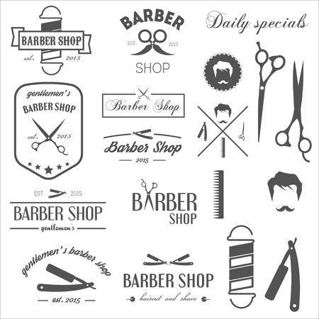 straight razor: Set of vintage retro labels,  and elements for barbershop Illustration