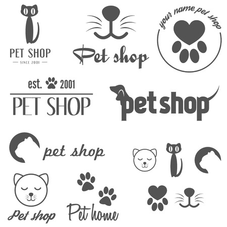 pet services: Collection of vintage  and  elements for pet shop, pet house and pet clinic
