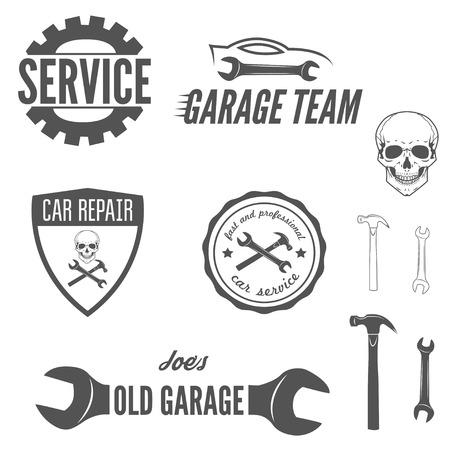 mechanic: Colección de, emblema y el elemento para el mecánico, garaje, reparación de automóviles y concesionarios