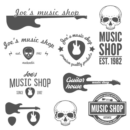 gitara: Kolekcja rocznika, znaczek, emblemat lub elementy do sklepu muzycznego i sklep gitary
