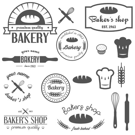 Collection of vintage bakery , labels, badges and design elements