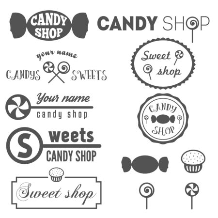 food shop: Set of vintage  and  elements for sweet shop and candy shop