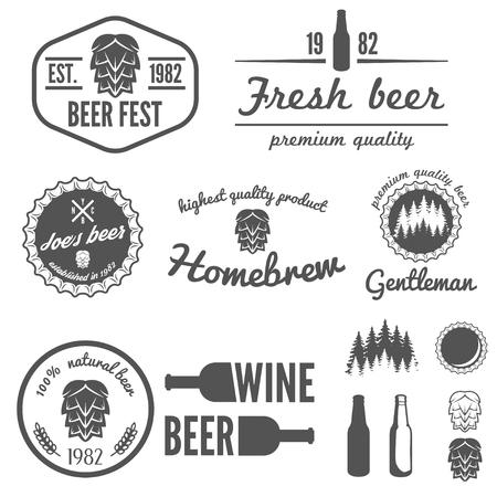 brewery  hops: Collection of vintage , badge, emblem or  elements for beer, beer shop, home brew, tavern, bar, cafe and restaurant Illustration
