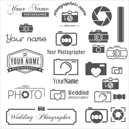 photo film: Set of vintage, retro and modern , icons and elements for