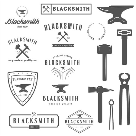 Set of logo, elements and logotypes for blacksmith and shop Stock Illustratie