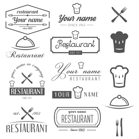 Collection of  and  elements for restaurant, cafe and bar Illustration