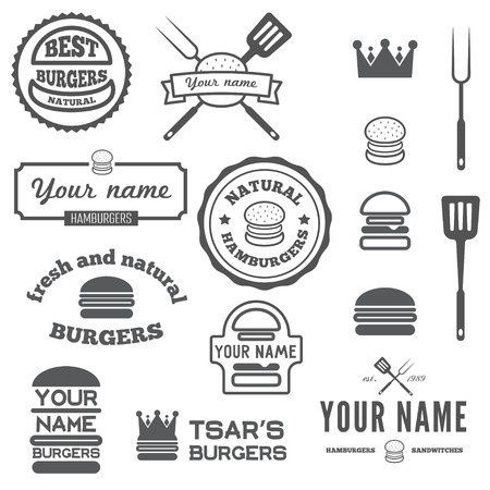 Collection of , labels, stickers and  elements for fast food restaurant, cafe, hamburger and burger Stock Illustratie