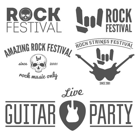 performance art: Collection of vintage , badge, emblem or  elements for rock festival, guitar party and musical performance Illustration