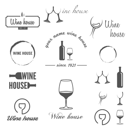 Collection of badges, labels, and elements for wine, winery or wine house