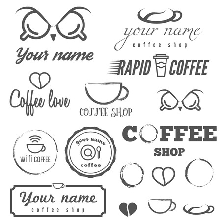 Set of vintage  and  elements for coffee shop, cafe and restaurant Vector