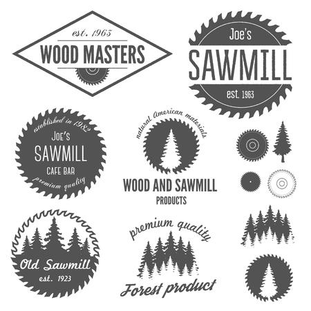 herramientas de carpinteria: Colecci�n de, etiquetas, escudos y elementos para el aserradero, carpinter�a y trabajadores de la madera Vectores