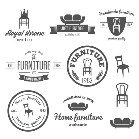 sofa viejo: Colecci�n de la vendimia, emblema y elementos para la tienda de muebles Vectores