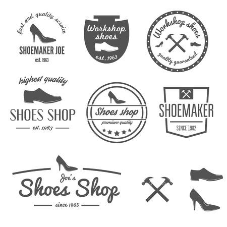 tienda de zapatos: Colecci�n de la vendimia, emblema o elementos de zapatero, tienda de zapatos y zapatos de reparaci�n Vectores