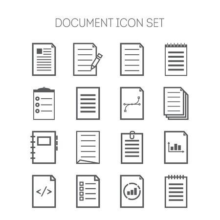 Conjunto de iconos de documentos de diseño de páginas web, sitios, aplicaciones, negocio y pegatinas
