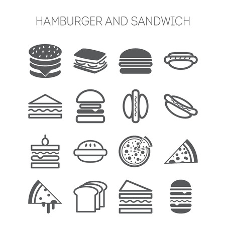 Set van iconen met hamburgers, broodjes en pizza's voor webdesign, websites, menu, restaurants, applicaties en stickers