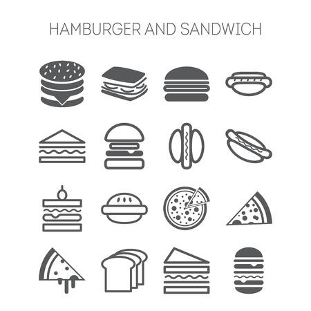 Set van iconen met hamburgers, broodjes en pizza's voor webdesign, websites, menu, restaurants, applicaties en stickers