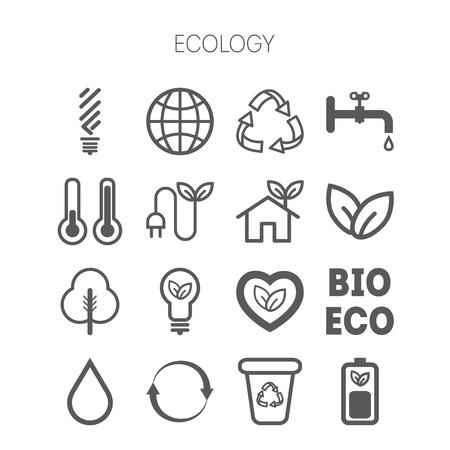 monochromatic: Set of simple monochromatic isolated ecology icons