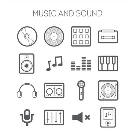 Set of simple icons with musical objects at white background Vector