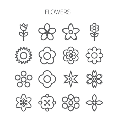 Simple monochromatic and isolated flower icon set Vector