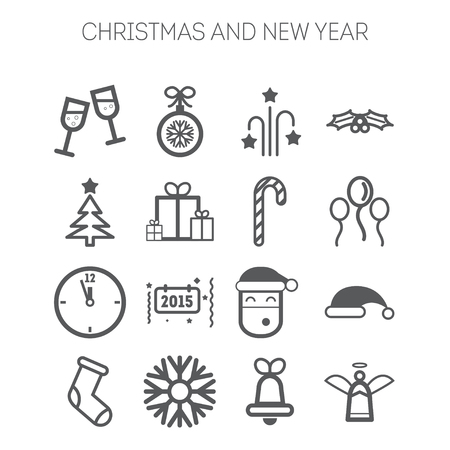 Set of simple isolated icons for New Year and Christmas Vector