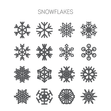 snow crystals: Set of simple isolated monochromatic snowflake icons