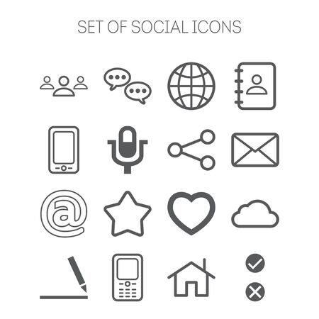 Set of simple isolated social monochromatic icons Vector