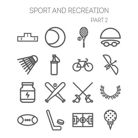 sports: Set of simple isolated icons for sport, recreation, web design and application