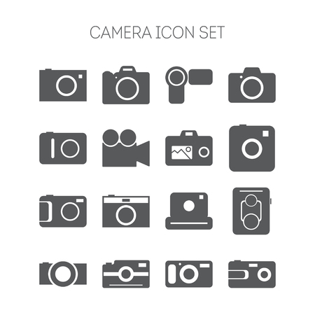 Set of icons with cameras for web design, sites, applications and games Vector