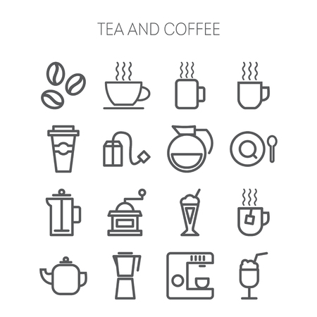 coffee set: Set of simple isolated icons for restaurant, cafe, coffee, tea, web and applications
