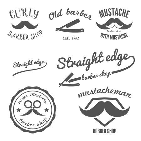 superman: Set of vintage barber shop logo, labels, badges and design element