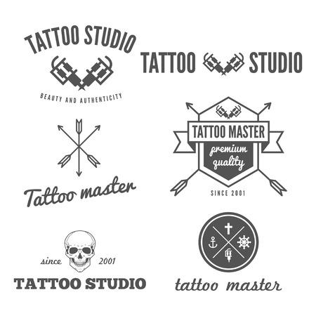 Set of logo, emblem, badge, print, or logotype elements for tattoo salon or tattoo master