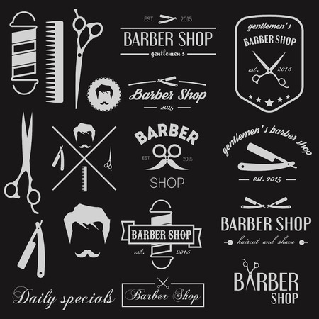 straight razor: Set of badges, elements, icons for barbershop Illustration