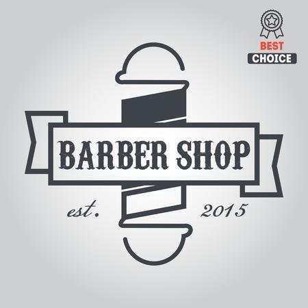 peluquerias: elementos, emblema de la barbería Vectores