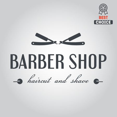 straight razor: Logo elements badge, emblem or logotype for barbershop
