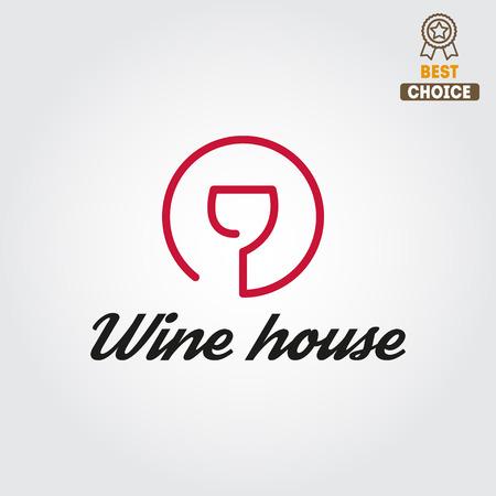 copa de vino: Insignia para el vino, la bodega o vino de la casa Vectores
