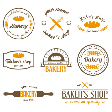 bakery products: Set of vintage bakery and design elements