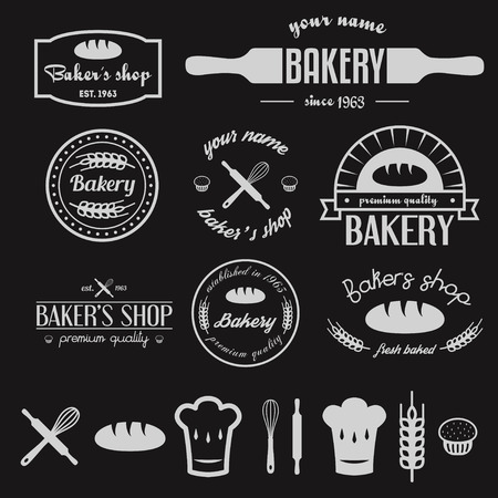 빈티지 빵집과 디자인 요소의 집합 일러스트