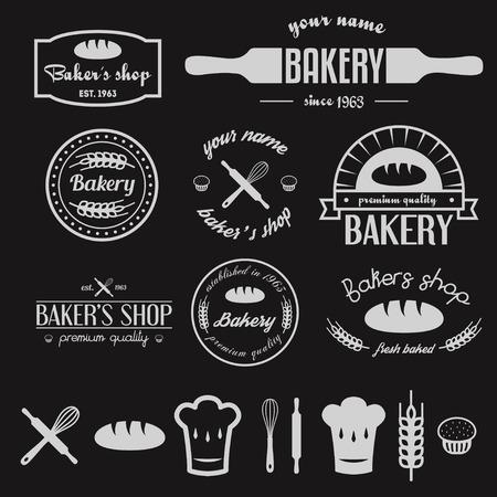 nudelholz: Set Vintage Bäckerei und Design-Elemente