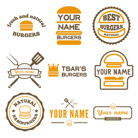 Conjunto de elementos para el restaurante de comida rápida, cafetería, hamburguesa y hamburguesa