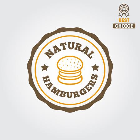 beef burger: Logo for fast food restaurant, cafe, hamburger and burger